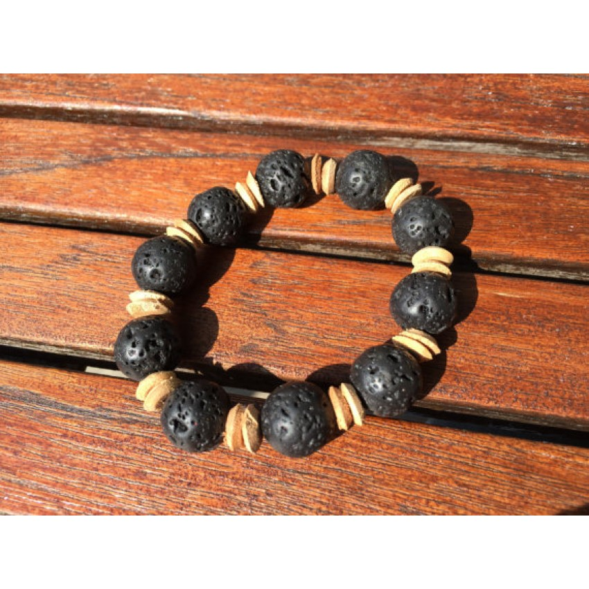 Lava rock ,rough wooden bead spacer reiki meditation yoga bracelet