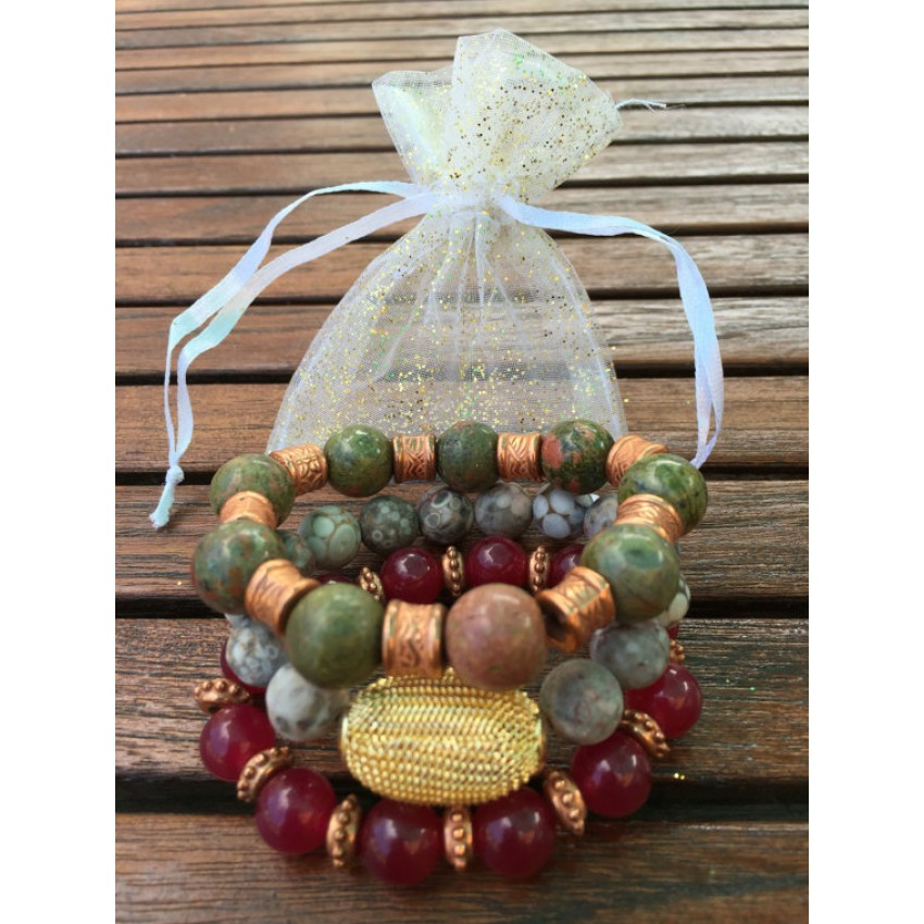Mix match set of 3 Coral fossile ,Jade, multicolored jasper reiki meditation yoga gift bracelet