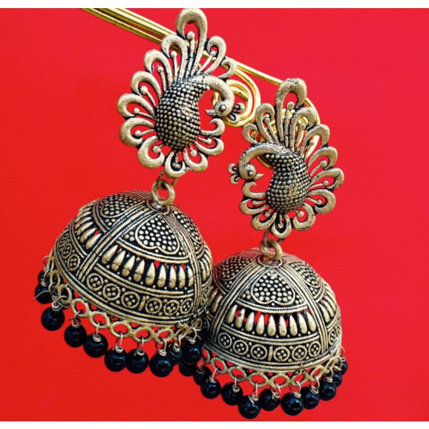 Golden oxidized peacock stud  jhumkas