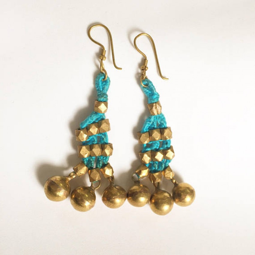Teal dokra handmade brass basic bead tribal Earrings by culturelink