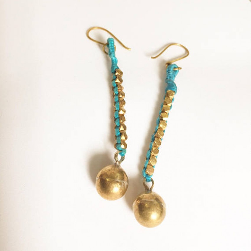Dokra Lost wax casting brass big ball thread wrapped teal earring