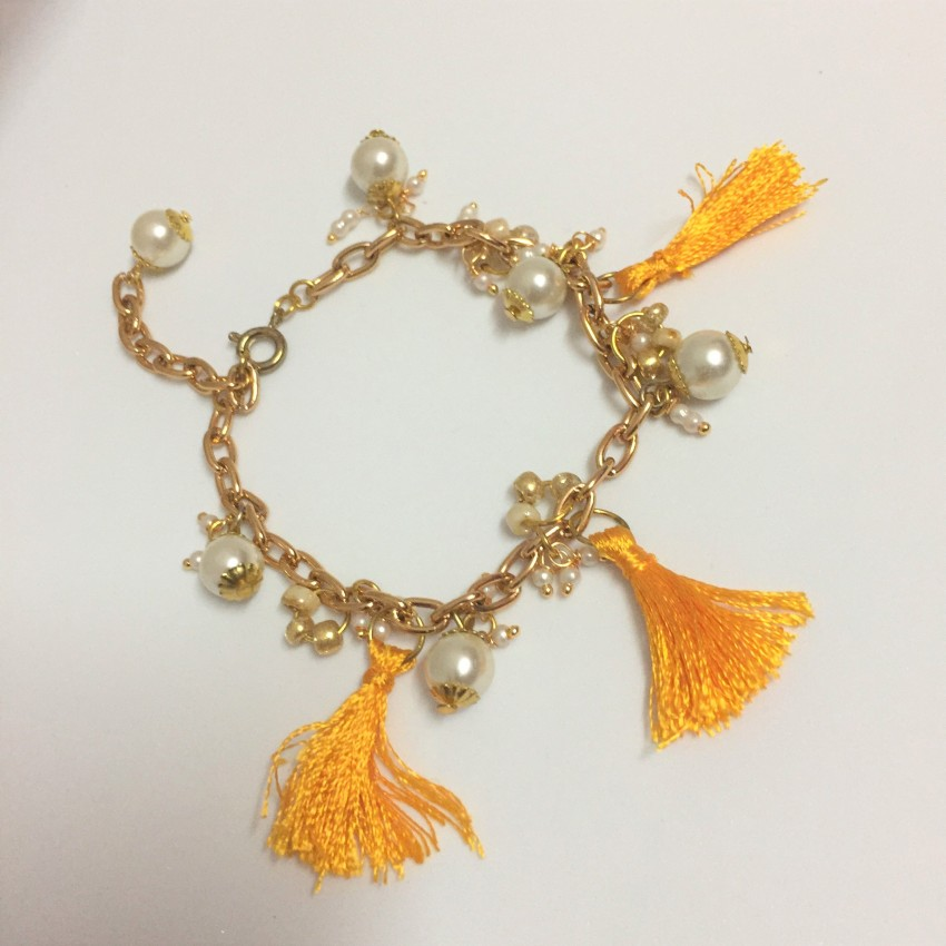 Silk thread party yellow tassel,pearl,seed bead bracelet