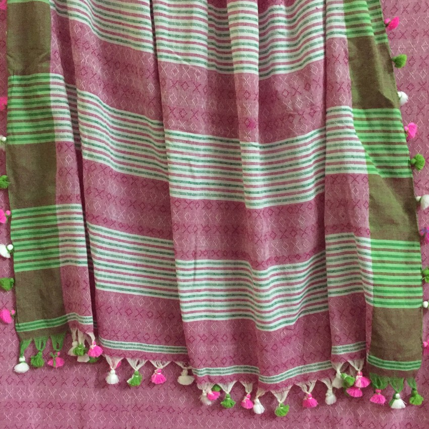 Hand woven Pink Khadi cotton Saree