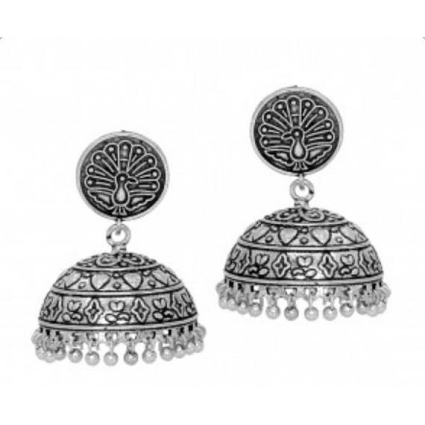 German Silver oxidized peacock stud jhumka