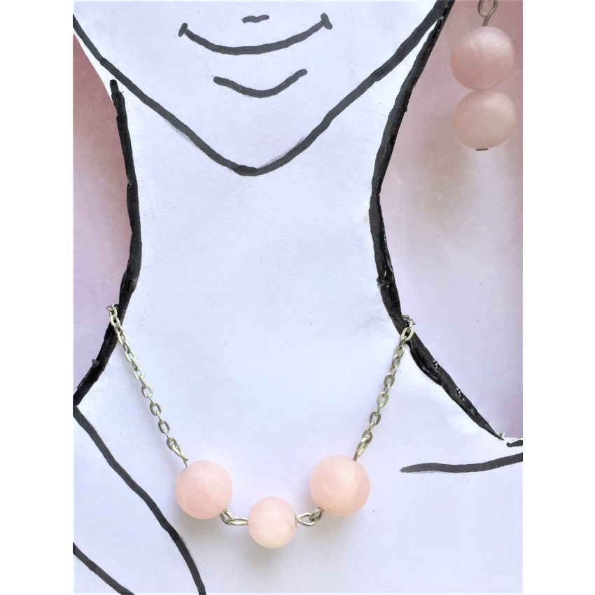Elegant Natural Rose Quartz mate finish Beaded 18 inch Necklace with Beautiful Ear drops Set