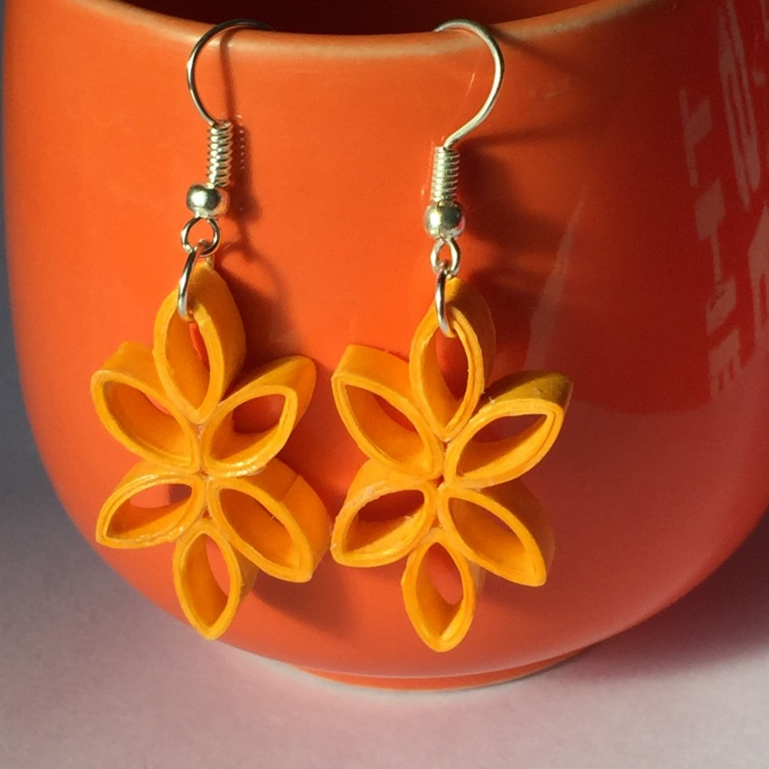 yellow blossom quilled earring