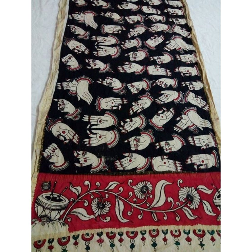 KALAMKARI BLACK AND maroon HAND PAINTED MUDRA STOLE WRAP DUPATTA