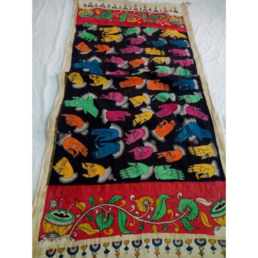 Kalamkari  black and multicolor hand painted mudra stole wrap dupatta