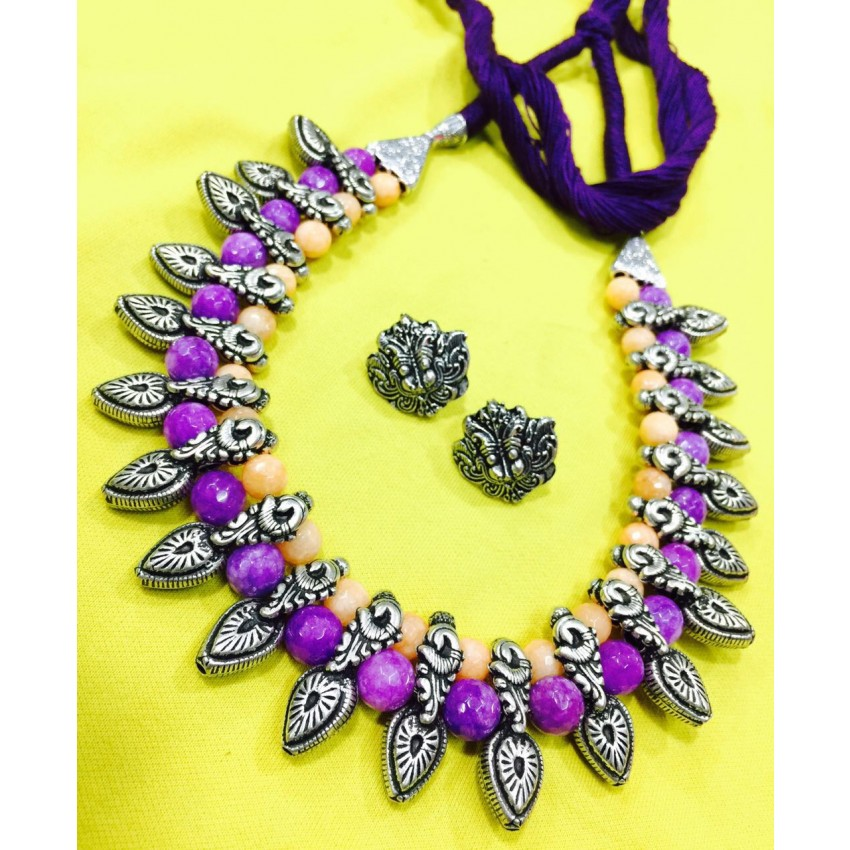 German silver choker with amethyst carneline  semiprecious beads