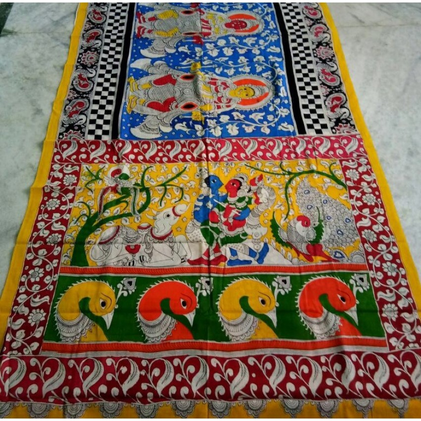 Kalamkari wooden pen painting yellow Sarees