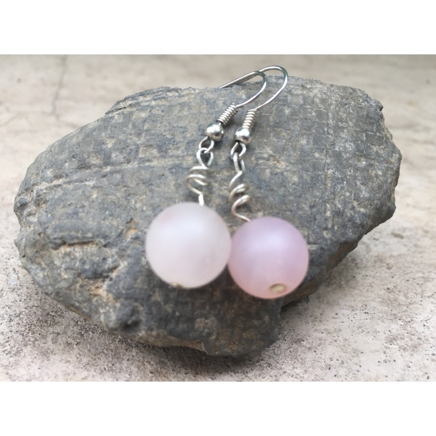 Rose quartz  handmade earrings