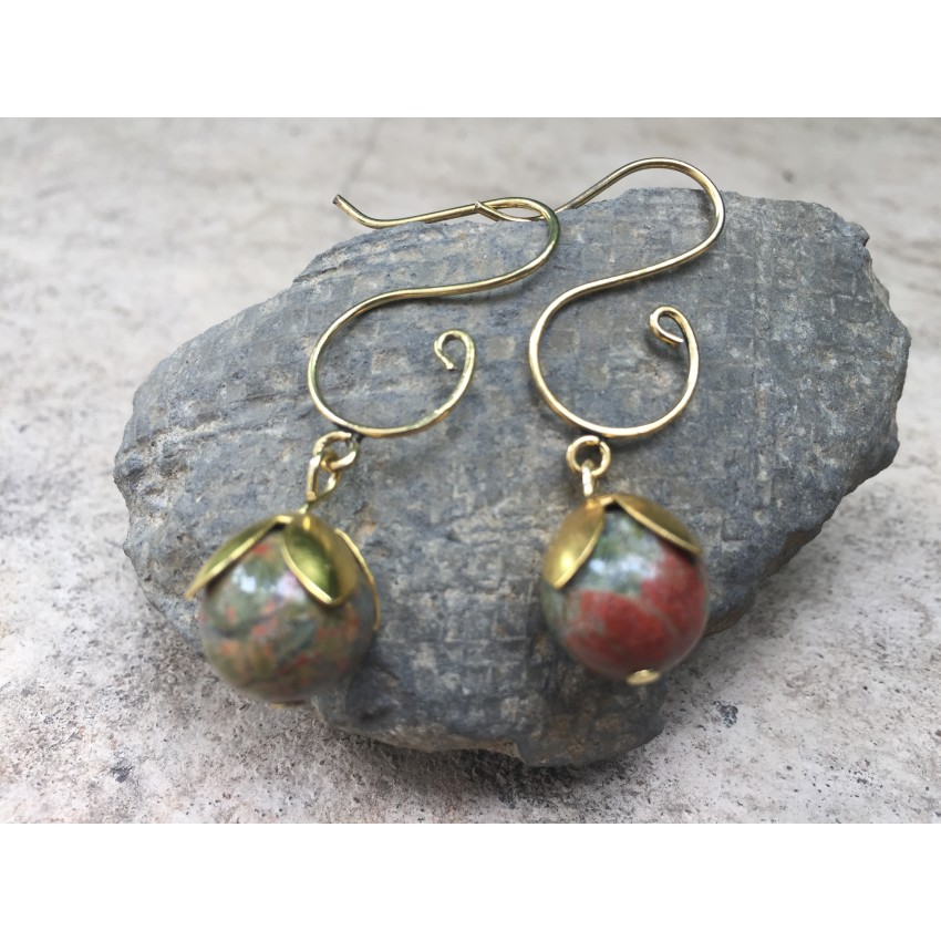 Elegant Natural Unakite  mate earring