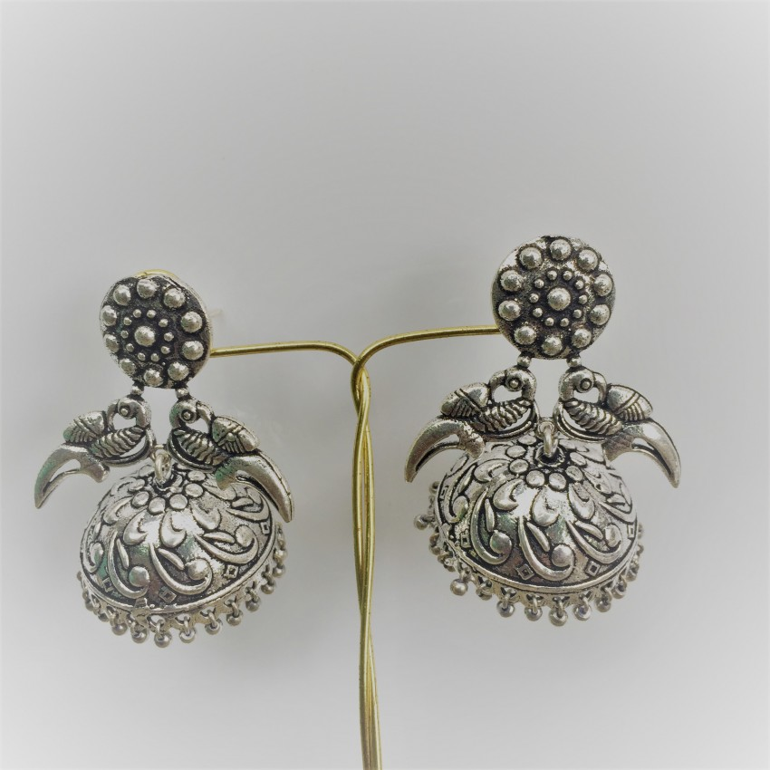 German Silver oxidised parrot jhumkas