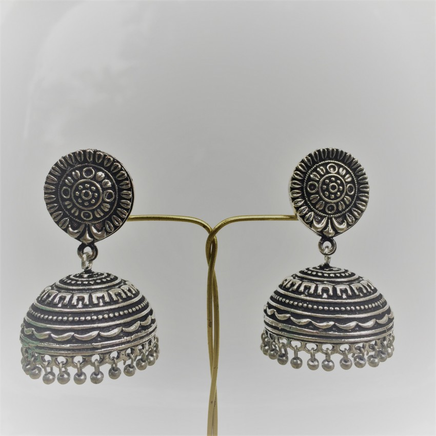 Golden oxidized flower stud  jhumkas