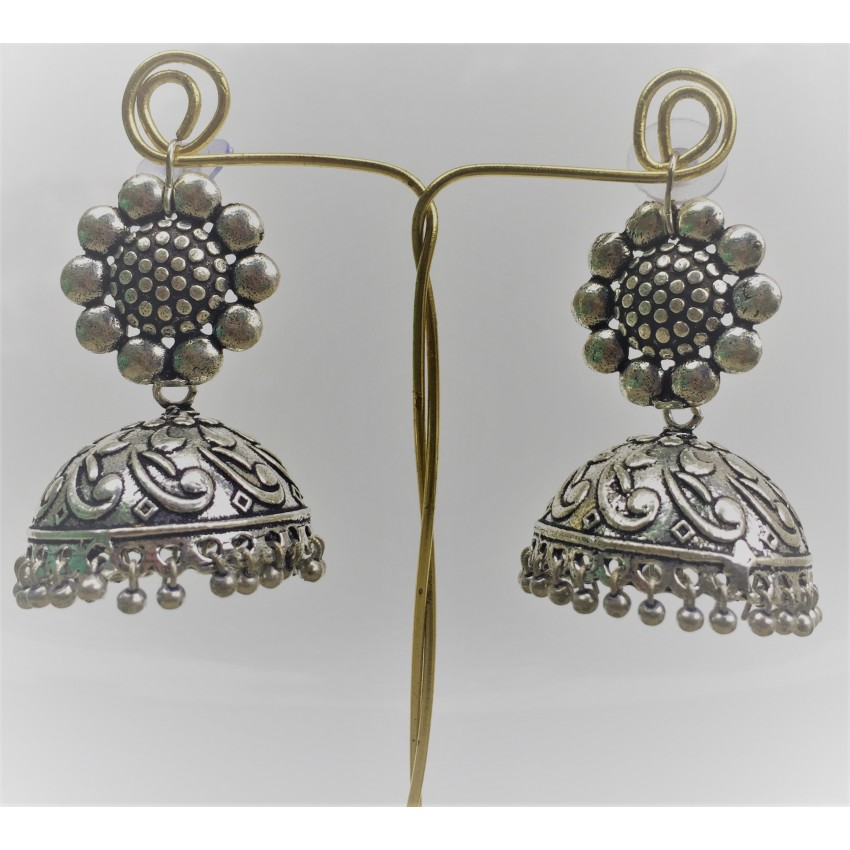 German oxidized silver flower stud  jhumkas