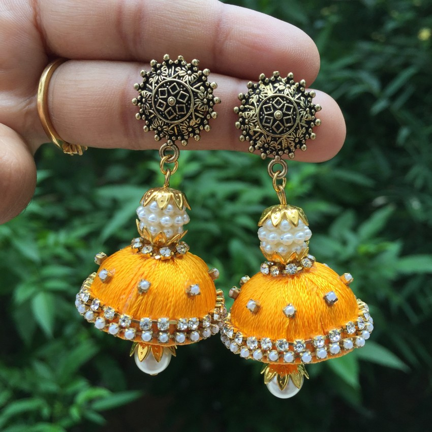 Oxidized stud with yellow handmade silk thread jhumka with traditional look