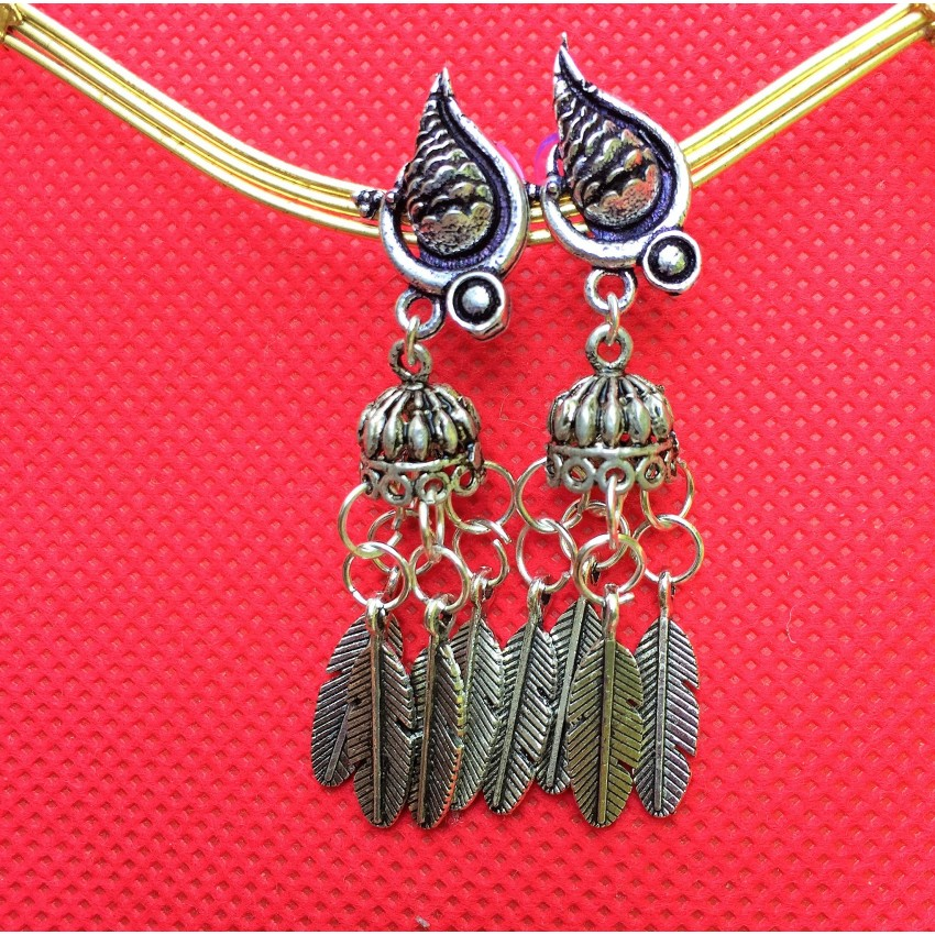 German Silver oxidised Peacock jhumkas