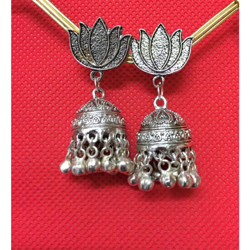 German Silver oxidized lotus stud jhumka
