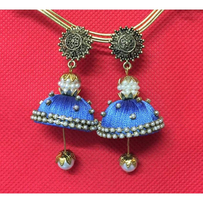 Oxidized stud with blue handmade silk thread jhumka with traditional look