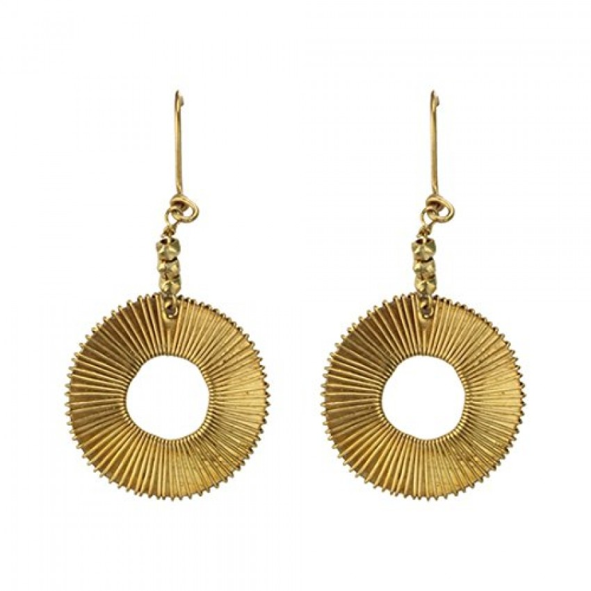 Dhokra handmade brass basic spiral tribal earrings