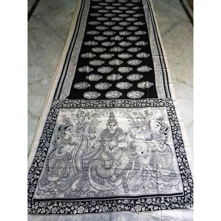 KALAMKARI WOODEN PEN hand painted black and white SAREE